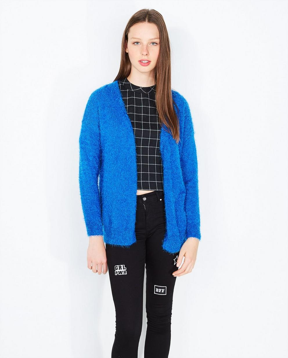 Felblauw harig vest - lichtjes oversized - Grogy